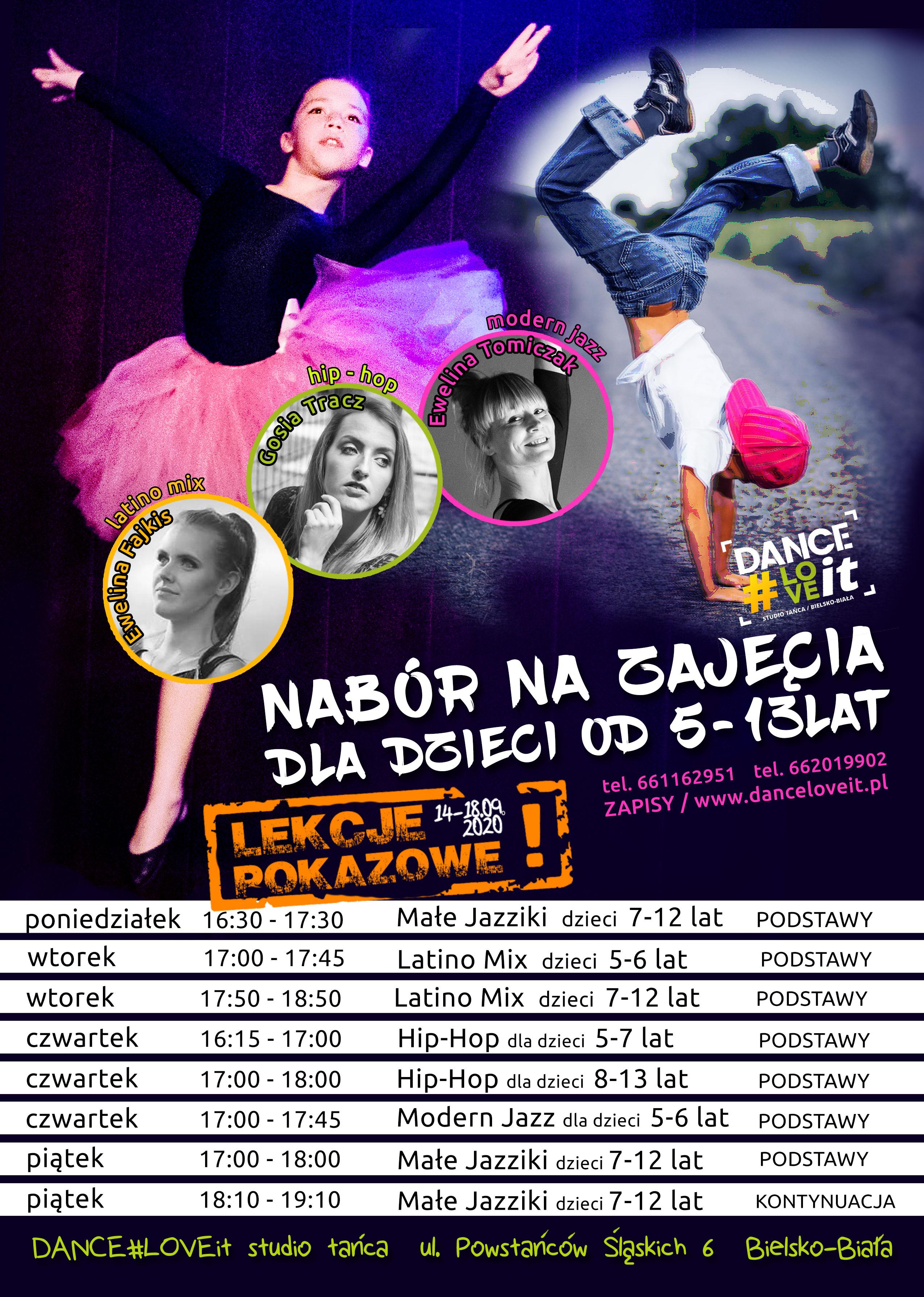 nabor-na-zajecia-taneczne-dla-dzieci-danceloveit-2020- bielsko-biala-modern-jazz-hip-hop-latino-